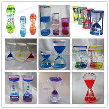 acrylic floating colorful aqua hourglass liquid timer