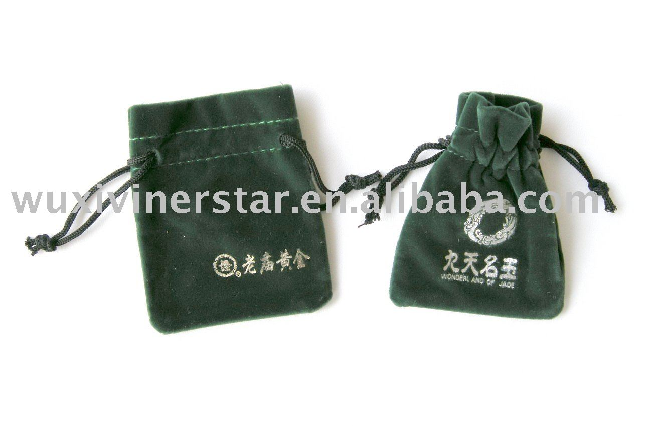 double drawstring embroidered logo jewelry velvet bags
