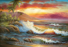 Guangzhou Manufacturer directly offer landscape oil painting,waves