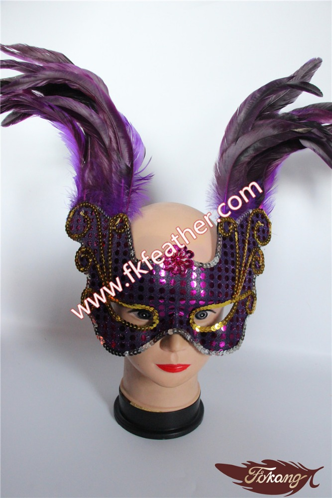 Cheap Venetian Masks Rose Red Cock Feather Party Supplies