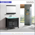 Modern slim solid wood bathroom vanity with glass basin