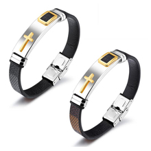 Fashion Wholesale Jewelry Stainless Steel Braided Bracelets Magnetic Buckle Mens Genuine Leather Bracelet