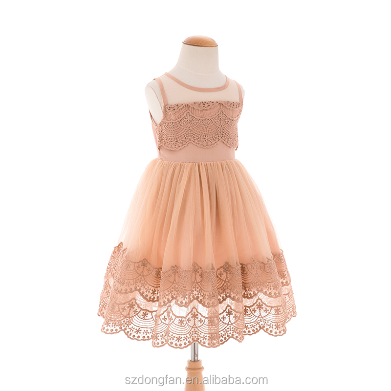 Girl Lace Dreses 2016 Summer Fashion Girls Beige Khaki Lace Flower Princess Party Dress
