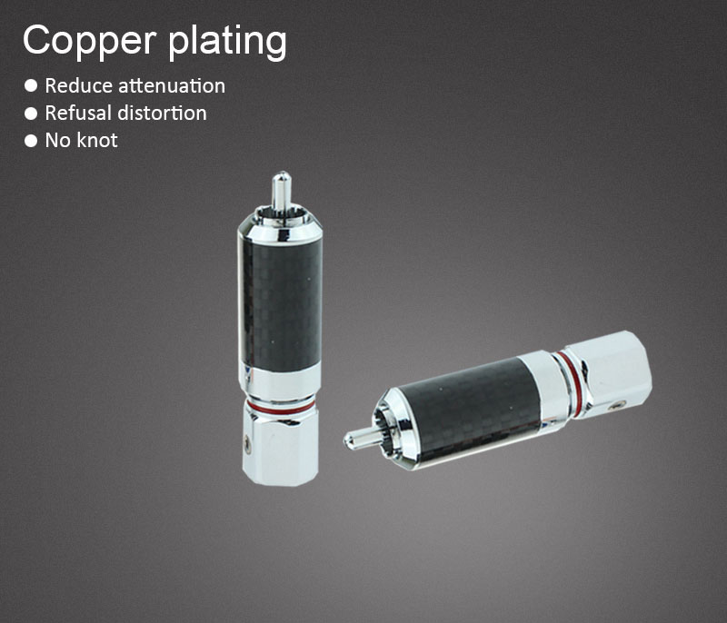 OEM carbon fiber rose gold plated RCA banana connector audio cable Audio Adapter Wire Connector