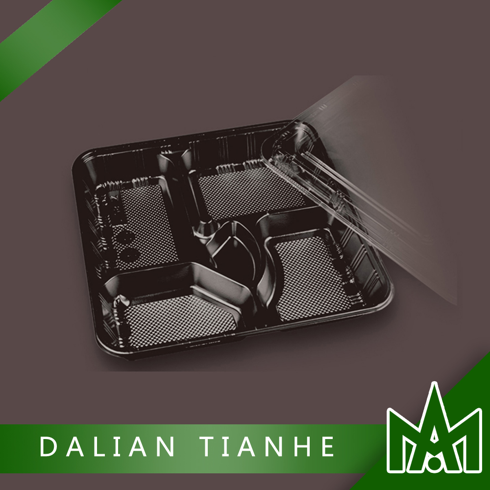 High quality disposable 5 compartment tray with lids