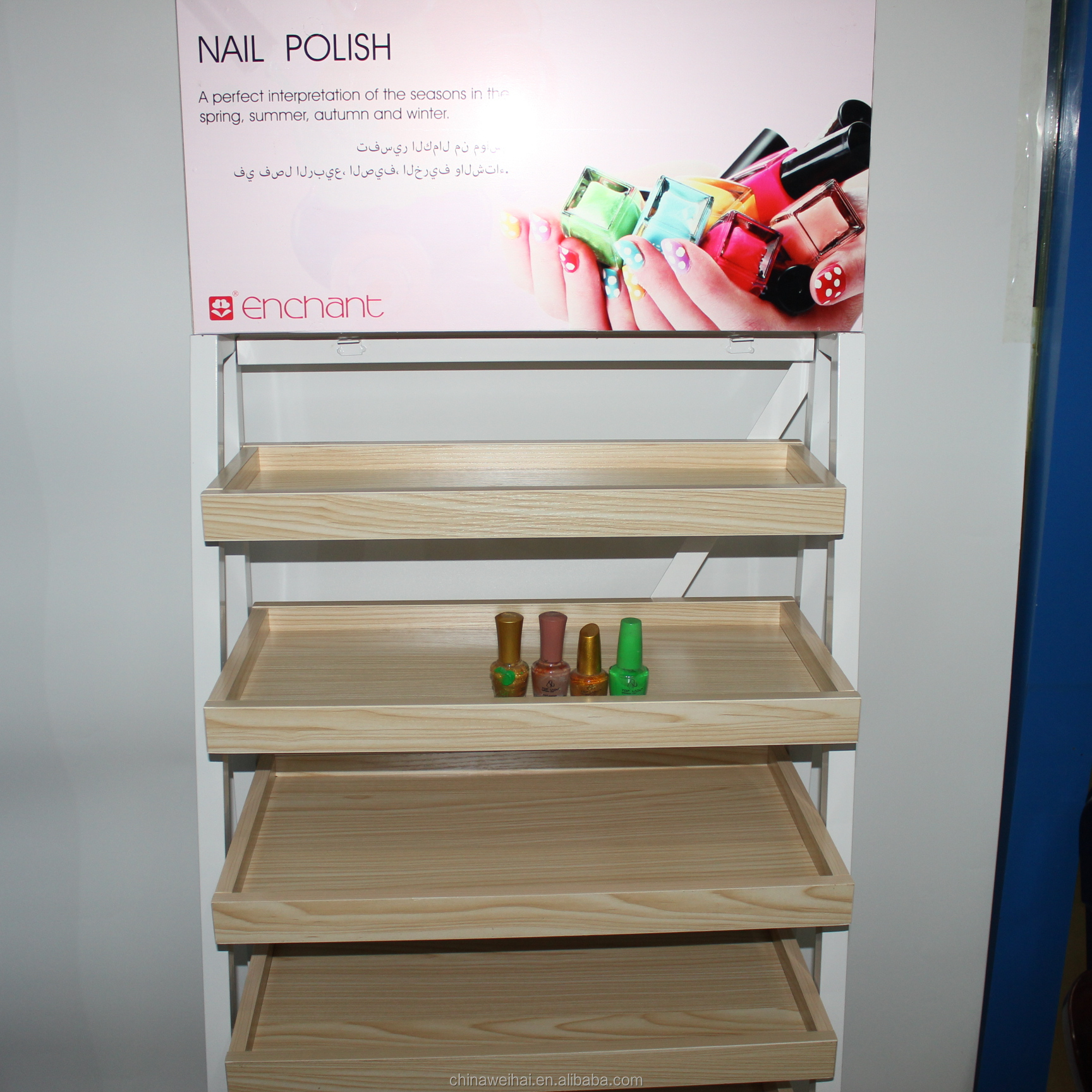 New Design Nail Polish Metal Display Shelf and Floor Stand