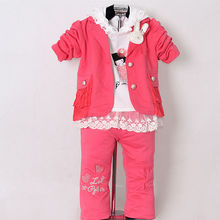 Hot Pink Girls Clothing Suit 3 Pcs Kids Top And Cotton T Shirt And Pants Children Spring Clothes Set Ready Stock P130202-12