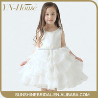 YNF0120 New Arrival Fashion Party Dresses for Girls Frocks Floral Beaded White Flower Girl Dresses