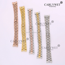 CARLYWET 20mm Solid Curved End Screw Links Deployment Clasp Stainless Steel Wrist Watch Band Bracelet Strap For Brand Watch