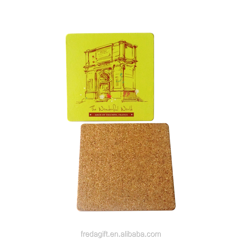 MDF with Cork Back coasters with UV printing design colorful wood coaster for drink