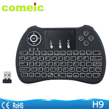 multi touch pad 2.4g wireless backlit H9 Mini USB Keyboard Air mouse