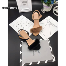 chinese fashionable latest fur ankle strap high heel women sandals
