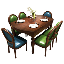 American style hot selling good quality antique furniture rubber wood folding retractable dining table and chairs set MGTCA001