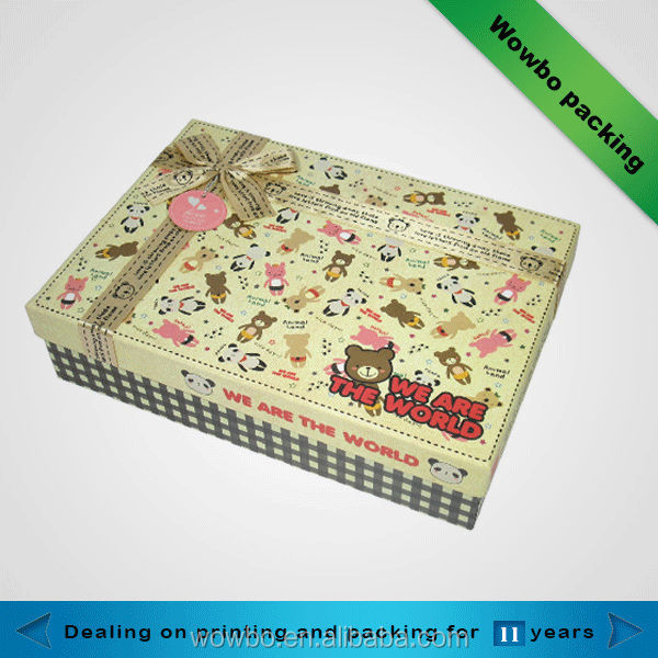 Beautiful design new and fashion gift box with ribbon design gift box with cute teddy bear pattern