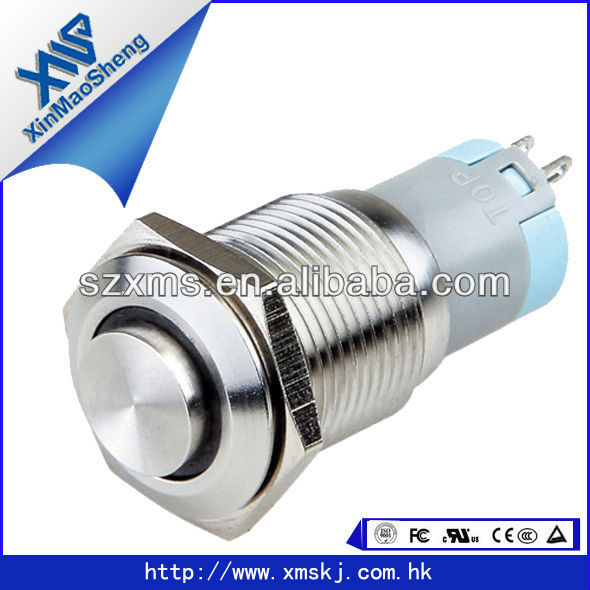 16mm Stainless Steel Anti -vandal Illuminated Momentary Push Button Switch With LED