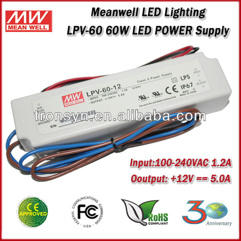 MeanWell Power Supply LPV-60-24(60W/24V) Meanwell constant voltage IP67 waterproof electronic led driver