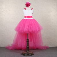 Rose Pink Chiffon Princess Dress For Girls Dancewear Kids Sexy Tutu Dress