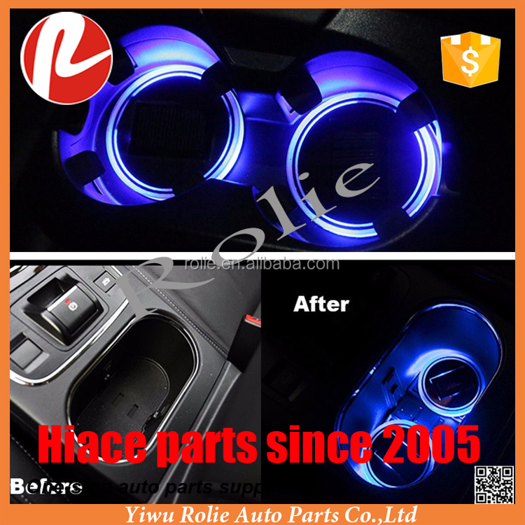 Cup Holder Bottom Pad LED Light Cover Trim Atmosphere Lamp For All car