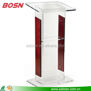 Clear Acrylic Podium for Floor, Open Back with Shelf, Wood