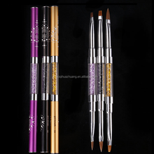 Hot New 2-Way 3 pcs (#2 #4 #6) Rhinestone Painting Acrylic Handle Kolinsky Carved Brush Pen 3D UV Gel DIY Nail Art Brush Set