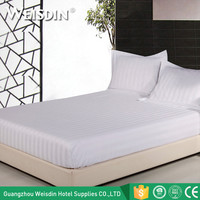 China suppliers wholesale white stripe hotel queen size cotton fitted bed sheet