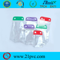 Colored transparent waterproof PVC bag/ small mobile phone carry bag with snap button