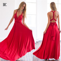 11 color 2016 summer sexy women maxi dress red bandage long dress sexy Multiway Bridesmaids Convertible Dress robe longue femm