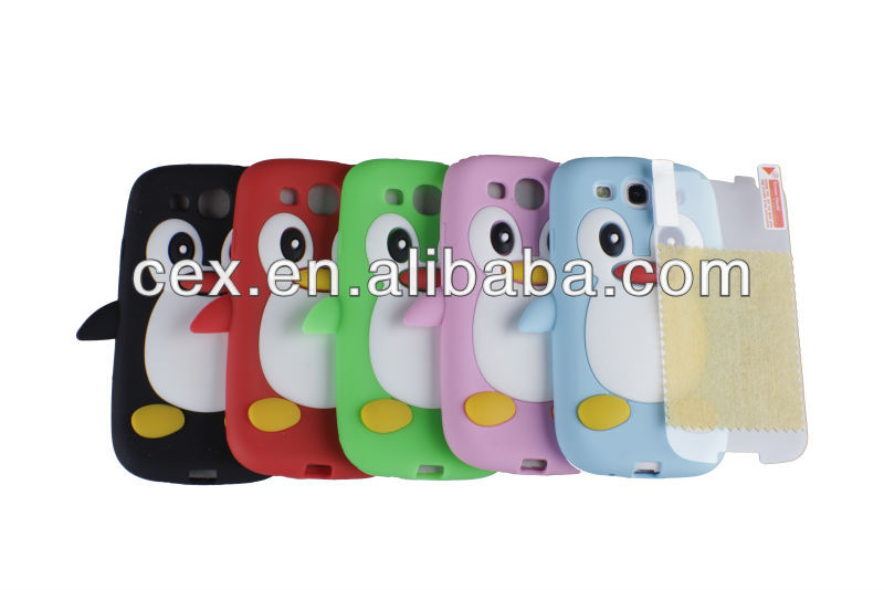 PENGUIN SILICONE SKIN CASE COVER & SCREEN PROTECTOR FOR SAMSUNG GALAXY S3