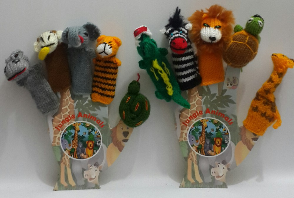 jungle animals Hand knitted Finger Puppets with 2 solid cardboard hands many designs available