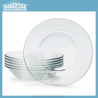 glass plate Round pie Dish Glassware Tempered Plate,Set of 6