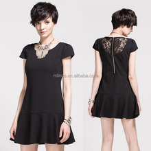 Hot Selling Unique Designed Lace Black Dress / Ladies Sexy Short Party Dress Clothes Made In China
