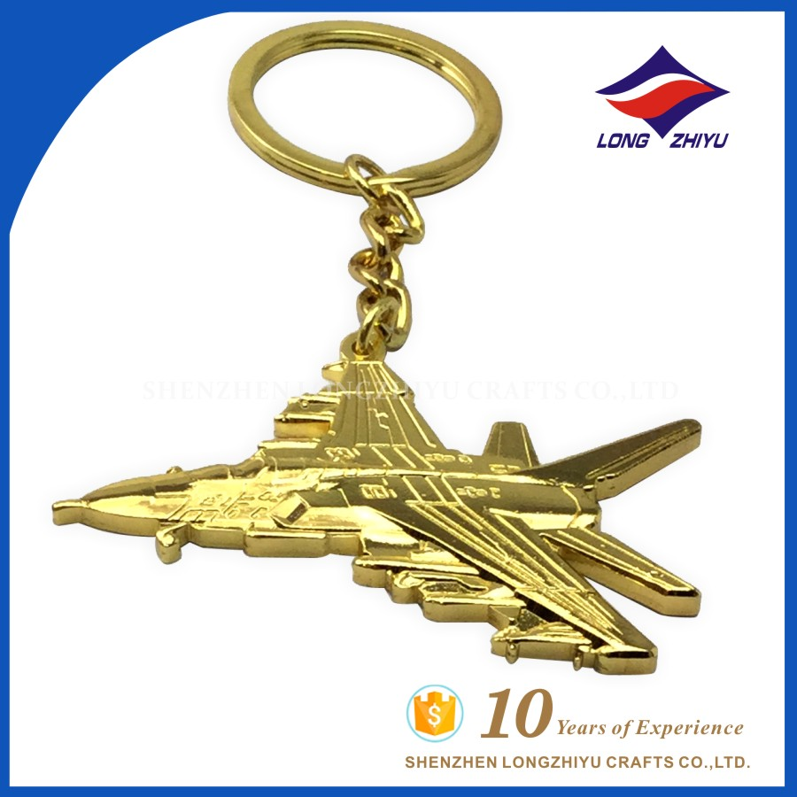 2016 Zinc Alloy Metal Cheap Gold Plated Promotional key chain with custom 3D airplane fashion design