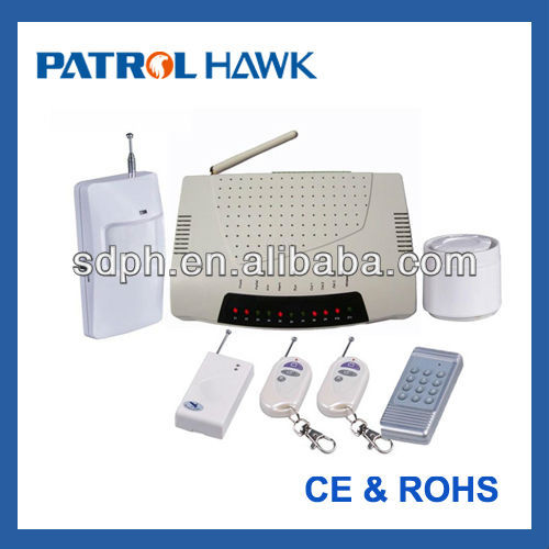 Patrol Hawk GSM SOS Alarm for building/home security with 12 wireless zones