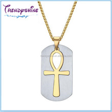 Fashion religious men's gold stainless steel egyptian style necklace