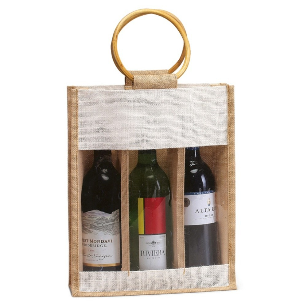 Eco-Friendly 3 Wine Bottle Jute Bag - features cane handles, plastic window and comes with your logo.