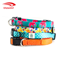 Amazon best sales promotional polyester custom heat transfer patterned logo collar and leash for dogs