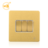Luxury antique brass 3 gang electrical wall light switch