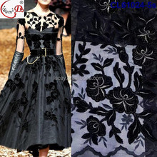 2017 Fancy African Embroided Velvet Floral Lace Fabric Embroidery French Lace Fabric CL61024