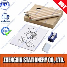 6 Wooden pencil drawing book sharpener eraser