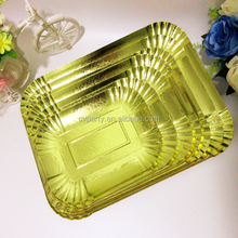 custom disposable silver and gold laminated paper plates and trays