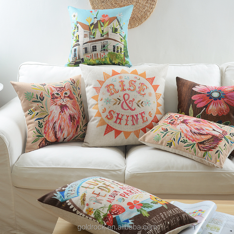 Factory direct sales Beautiful printing cat lovely watercolour cushion cover Nordic style thick sofa decorative cushion pillow