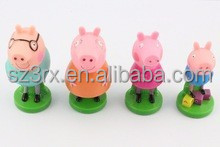 best selling colorful pig plastic figure stamp toys, educational use tool for kids play, custom plastic mini stamp toys for kids