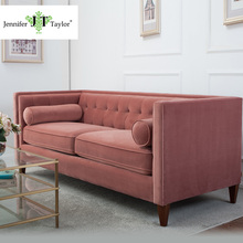 Upholstered Wooden Velvet Three-seat Tufted Sectional Sofa/Modern American Style Pink Fabric Living Room Bolster Couch