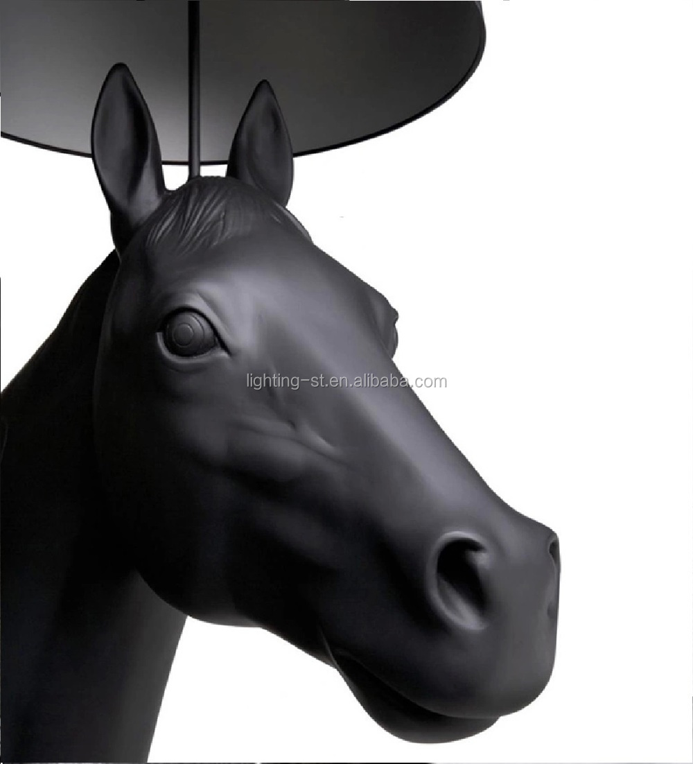 180cm height black color polyester horse floor lamp for project Hotel Lobby Villa Huge Horse decoration HYL6011