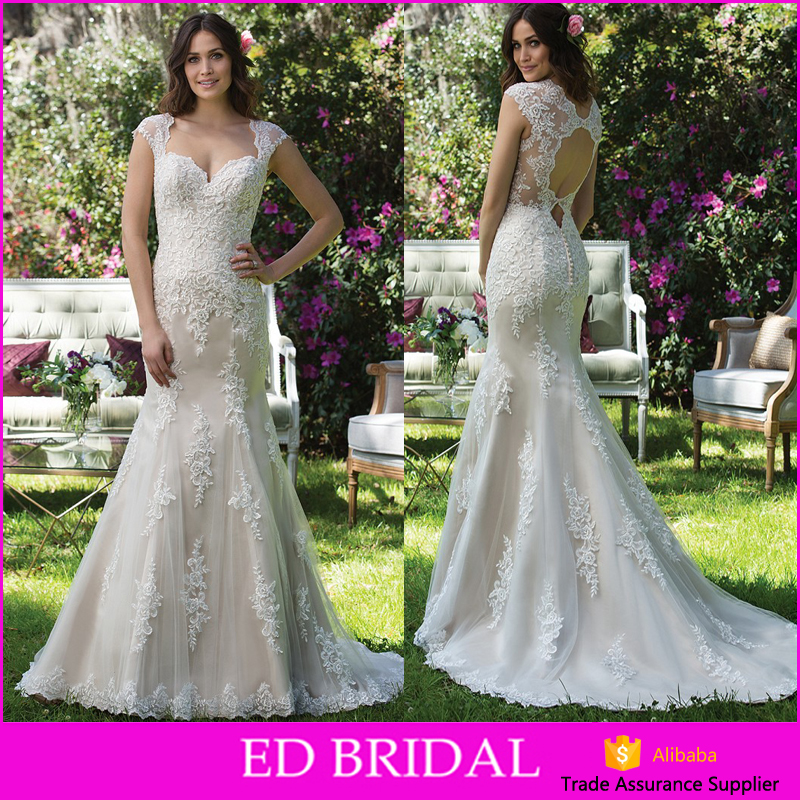 New Model Sweetheart Cutout Back Lace Appliques Fish Cut Wedding Dress Bridal Gown Mermaid