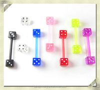 Unique design dice barbell piercing industrial piercing body jewelry bio plastic body piercing jewelry (HZC-001)