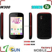 W300 Mobile SC6820 unlocked WiFi FM dual sim card smart phone