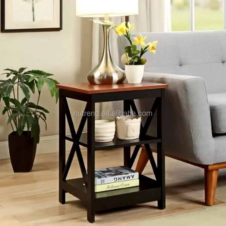 Fancy two color combo wood end table design