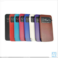 Luxury Smooth Skin Leather Cover Case with Window Design for Samsung Galaxy S4 Mini/i9190 P-SAMI9190CASE019