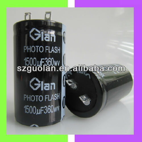 Glan 360V 1500UF High Speed Charge Discharge Cylindrical Aluminum Electrolytic Capacitor Photo Flash Capacitor